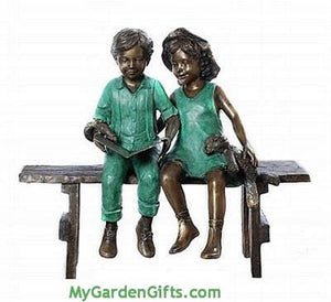 Reading Children on a Bench Bronze Sculpture