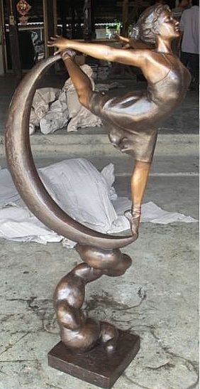 Dancing Ballet Girl on Moon Sculpture