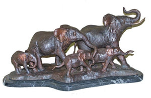 Family of Elephants Bronze Sculpture