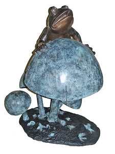 Large Frog Fountain Statue Shown on Mushroom