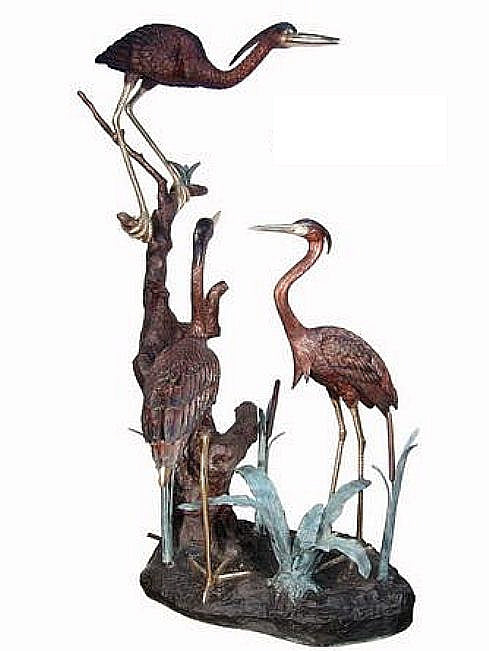Family of Herons Life Size Bronze Sculpture