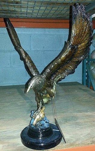 Flying Eagle Sculpture on Marble Base