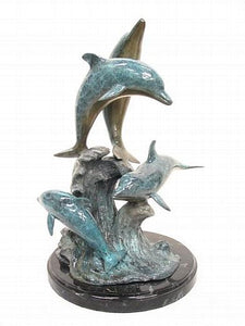 Four Dolphins Make a Swim Bronze Sculpture