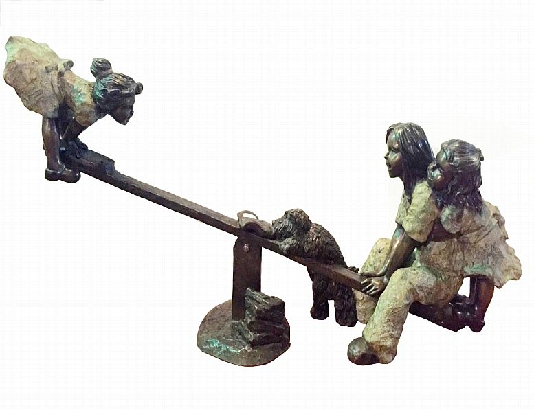 Seesaw Children Sculpture