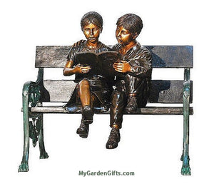 Bronze Reading Children Statues on a Bench