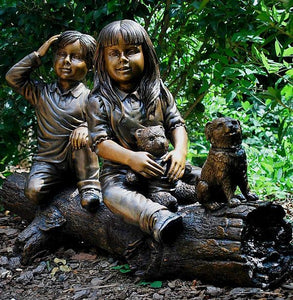 Two Children on a Tree Log Bronze Sculpture