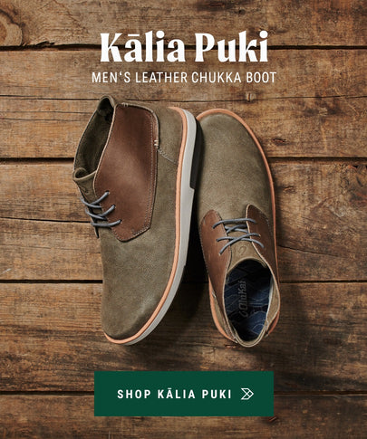 OluKai Menʻs Leather Chukka Boots Kalia Puki