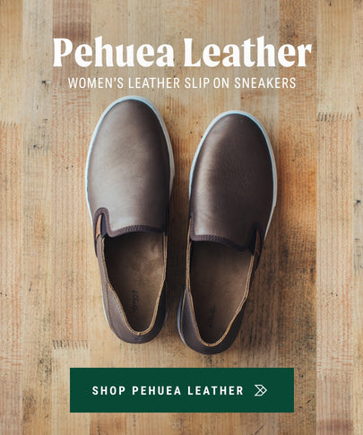Womenʻs Leather Slip On Shoes Pehuea Leather OluKai