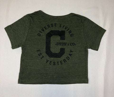 "Women's ""Cali-Made Crop Top"" Forest Green"