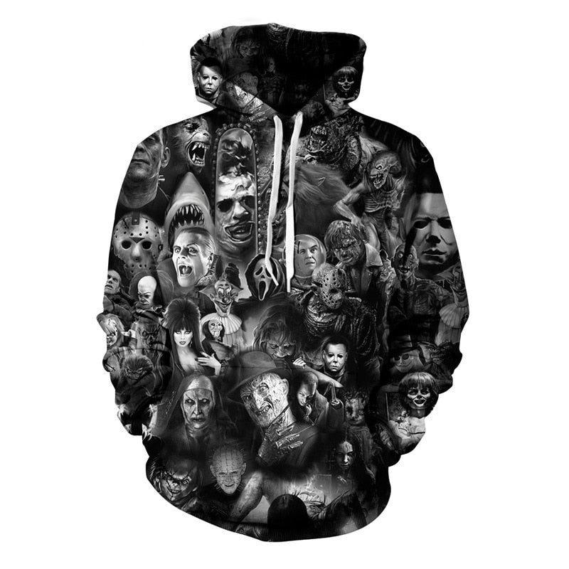 Horror Movie Hoodie (Pullover) 3D Print - 3 Variations