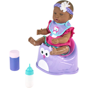 "My Sweet Love 14"" African American Baby Doll & Accessories Potty Set, Purple"
