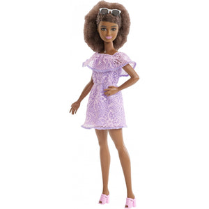Barbie Fashionistas Doll, Petite Body Type Wearing Purple Lace Romper