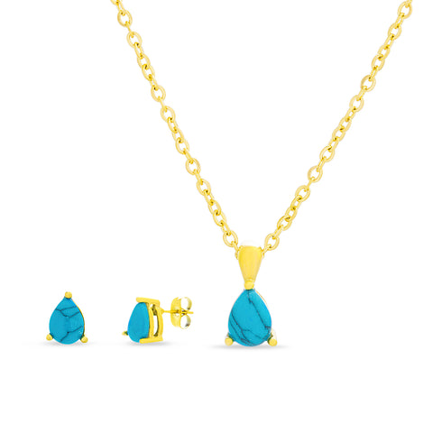 Women's Simulated Blue Turquoise Teardrop Set
