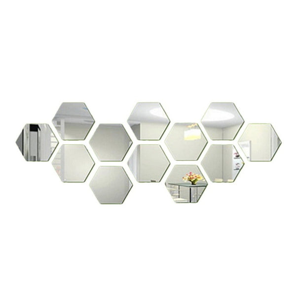 12Pc/Set 3D Hexagon Acrylic Mirror Wall Stickers - Living Room Decor