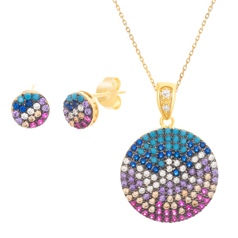 Cubic Zirconia Disc Station Necklace and Post Earring Set