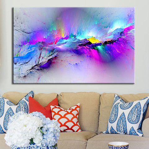 Framed Modern multicoloured blue Canvas Wall Abstract Art Picture Large Print Wall Art Home Collection