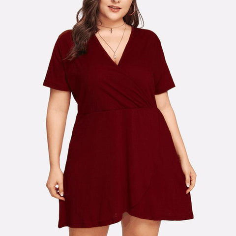 Fashion Women Casual Deep V-Neck Short Sleeve Plus Size Solid Mini Dress