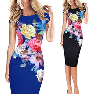 Women Pack Hip Dresses Elegant Slim Short Sleeve Floral Print Dress