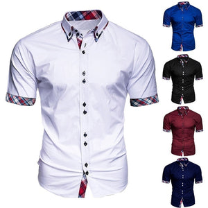 2019 New Arrivals Slim Fit Male Shirt Fashion Men's Business Short Sleeve