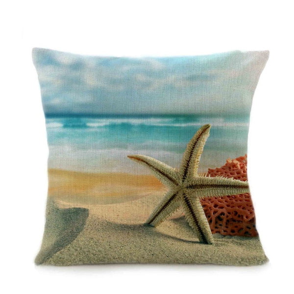 Stylish Linen Simple Pillowcase Creative Beach Starfish Landscape Printing Home Living Room
