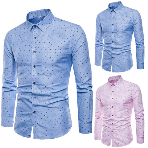2019 Hot Men's Long Sleeve Oxford Casual Suits Shirts