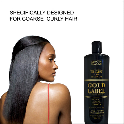 Keratin Research Gold Label Professional Blowout Keratin Hair Treatment Super Enhanced Formula Specifically Designed for Coarse Curly Black, African, Dominican and Brazilian Hair types 240ml.