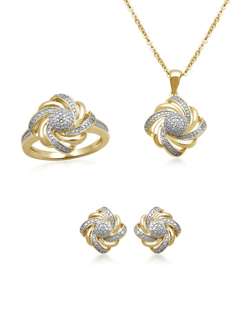 Diamond 14kt Gold over Brass Boxed 3-Piece Wave Jewelry Set