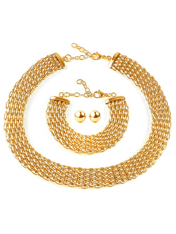 Hollow Mesh Polished Gold Plated Jewelry Set (19.5mm)