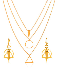 Gold Tone Geometric Charm Pendant Necklace and Earrings Jewelry Set