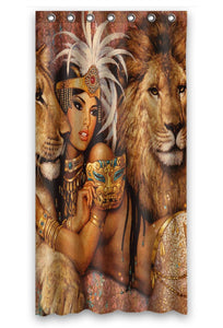 Afro Beautiful Woman With Lions Waterproof Polyester Shower Curtain