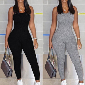 Sexy V Neck Sleeveless /Full Sleeve Backless Grey One-piece Skinny Jumpsuits