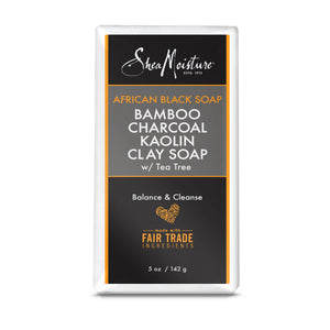 African Black Soap Bamboo Charcoal Kaolin Clay Soap - Natural Detoxifier and Skin Cleanser - Sulfate-Free (5 oz)