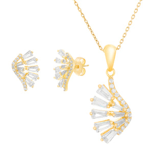 Women's White Cubic Zirconia Fan Design Stud Earring and Matching Pendant Set