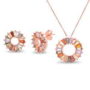 Multicolored Cubic Zirconia Necklace and Earring Set Rose Gold Plated Sterling Silver
