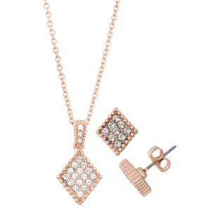 14K Rose Gold Plated Diamond Shape Crystal Necklace and Stud Earring Set, Made With Swarovski Crystals