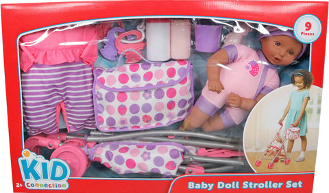 Kid Connection 9-piece Baby Doll with Stroller Play Set, African American, Purple & Pink