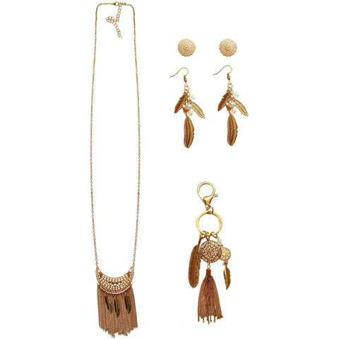 Gold-Tone Leaf Necklace, Drop Earrings and Charm Keychain Gift Set, 3-Piece