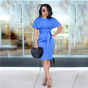 Fashion Women Office Dress with Sashes Elegant Short Sleeve Empire Pencil Midi Formal Dress