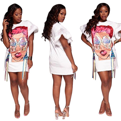 Ice Cream Eyes Girl Print Ribbon Plus Size Women Casual Dress O Neck Organza Flare Short Sleeve