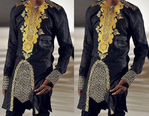 Afro Men's Hot Gold Long-sleeved Shirts