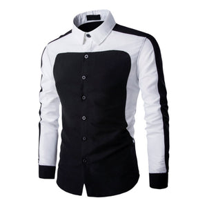 Black White Contrast color Long Sleeve Shirt