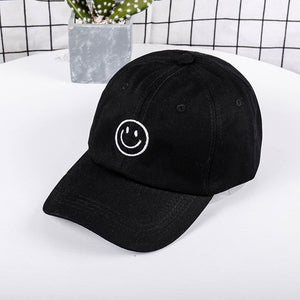 Cotton Baseball Cap Unisex Vintage Embroidery Twill Vintage Adjustable Dad Hat  Male and female Casual smiley baseball cap hat