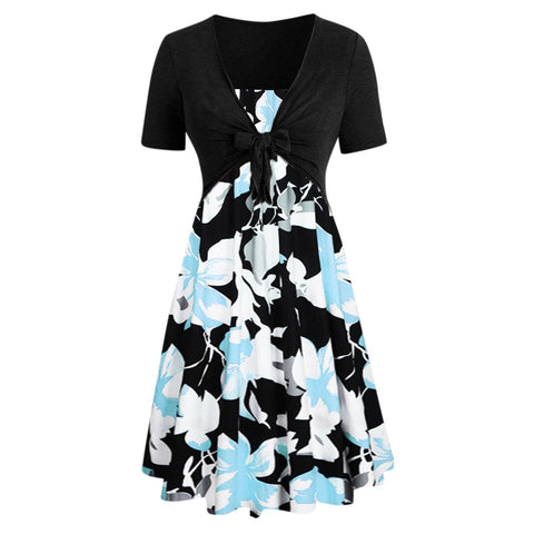 Women Short Sleeve Bow Knot Bandage Top Sunflower Print Mini Dress Suits