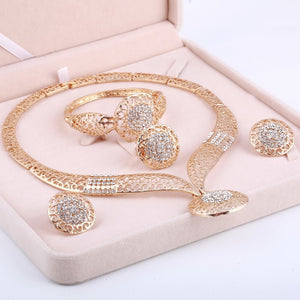Gold African Beads Crystals Bridal Jewellery
