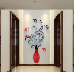 Environmentally Friendly Plastic Wall Stickers Plant Flower 3D Room Bedroom Wall Decoration