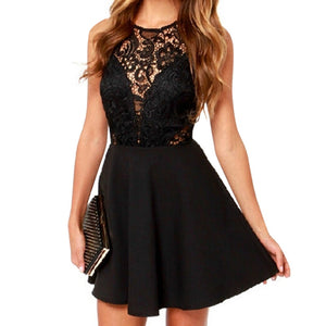 Women Sexy Sleeveless Lace Dress V Back Party Hollow Out Black Dress