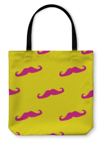 Tote Bag, Pattern With With Neon Pink Mustache On Sunny Yellow