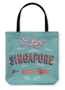 Tote Bag, Vintage Greeting Card From Singapore Singapore