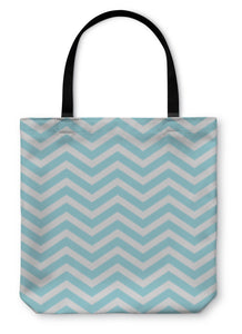 Tote Bag, Teal And White Zigzag D Fabric
