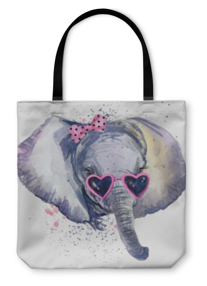 Tote Bag, Baby Elephant Tshirt Graphics Baby Elephant Illustration With Splash Watercolor